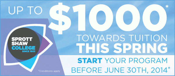 Sprott Shaw Offering $1000 Towards Tuition This Spring